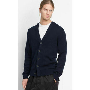 Vince Cashmere Blend Mixed Ribbed Cardigan XXL